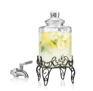 RPI Elegant Glass Beverage Dispenser with Scroll Iron Stand