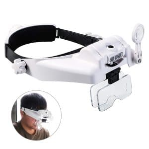Headband Magnifying Glass with Light, Head Mount Magnifier Glasses Visor Handsfree Reading Magnifying Glasses for Close Work, Jewelers loupe, Sewing, Crafts