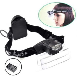 Lighted Head Magnifier Glasses Headset with Led Light Magnifying Head Lamp Headband Loupe Visor Hands-free for Watch Repair Reading Eyelash