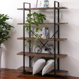 SUPERJARE 5-Shelf Industrial Bookshelf