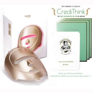 ECO FACE Near-infrared LED Photon Mask for Home LED Therapy - GOLD | 120 LED lights (60 Near-infrared & 60 Visible) | Electric Facial Skin Rejuvenation