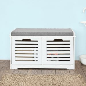 Haotian White Storage Bench with 2 Drawers
