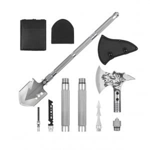 LIANTRAL Folding Shovel and Survival Axe Set for Backpacking