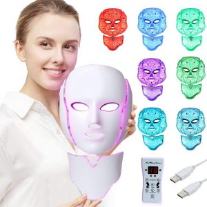 LED Fâcè Mâsk Light Therapy - 7 Color Skin Rejuvenation Therapy LED Photon Mâsk Light Facial Skin Care with Neck Care Anti Aging Skin Tightening Wrinkles Toning