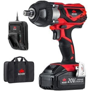 NoCry 20V Cordless Impact Wrench Kit - 300 ft-lb (400 N.m) Torque, 1:2 inch Detent Anvil, 2700 Max IPM, 2200 Max RPM, Belt Clip; 4.0 Ah Battery, Fast Charger & Carrying Case Included