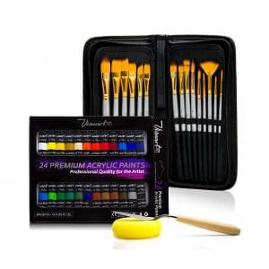 Acrylic Paint Brush Set Of 15 Best Oil Watercolor Gouache Brushes Face Body Ki