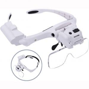 YOCTOSUN Head Magnifier with 5 LED Lights, Hands Free Headband Magnifying Glass with 5 Interchangeable Lenses 1.2X 1.8X 2.5X 3.5X 4.5X, Great Magnifying Glasses for Jewelry, Arts and Crafts
