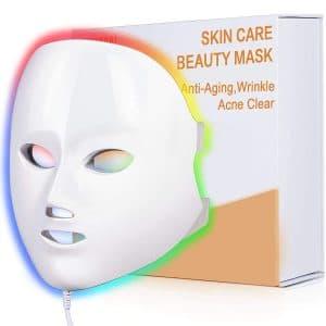 Light Therapy Mask, NEWKEY Led Face Mask Light Therapy,7 Colors Blue Red Light Therapy Facial Mask for Acne - Skin Rejuvenation - Anti Aging - Wrinkles