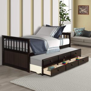 Merax Twin-Size Wood Daybed with Trundle