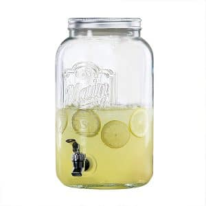 Mason Design 2-Gallon Glass Beverage Dispenser Iron Lid Stylish Silver Spigot