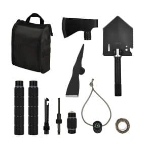 IUNIO Survival Folding Shovel with Carrying Bag
