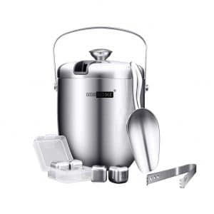 VIVOHOME 3-Quartz Stainless Steel Double Wall Ice Bucket
