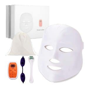 WIRELESS 7 Color LED Face Mask, DermRenew LED Photon Mask with 540 Titanium Micro Needle Derma Roller, Protective Eye Goggles and Carry Bag