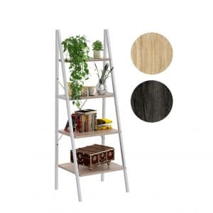 4NM Industrial 4 Tier Ladder Shelf Metal Bookshelf