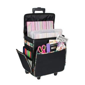 Everything Mary Black & Floral Rolling Cart