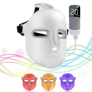 NEWKEY Led Light Therapy Facial Mask - Uses Newest Red:Blue:Yellow Light Therapy For Skin Rejuvenation|Whitening|Anti Aging|Smoothening