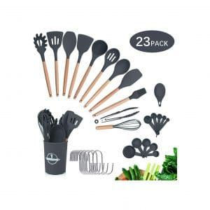 Silicone Cooking Utensils Kitchen 23 Pieces Cookware Wooden