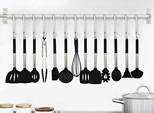 esonmus Silicone Kitchen Utensil Set 11 Pcs Silicone Wooden Utensils Cooking Set Handle Heat-Resistant Best Gift Non-Stick Cooking Tools