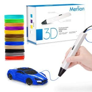 Merlion 3D Pen for Kids,Toys for Kids 3D Pen with 1.75mm PLA Filament Pack of 12, Each Color 10 Feet, 3D Printing Pen with OLED Screen is for Kids,Artist, Adults Upgraded