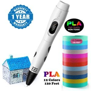 3D Printing Pen, Parner Professional 3D Drawing Pen with Led Display, Packed 12 Color PLA Filament Refills, Safe and Easy to Use 3D Writing Pens for Kids and Adults