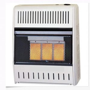 23 lbs Natural Gas Wall Heater - 3 Plaque, 18,000 BTU, Manual Ventless