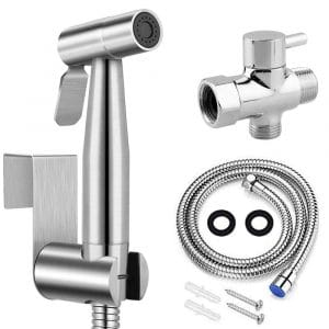 Handheld Shattaf Bidet Spray For Toilet With Brushed Nickel Finish And Complete Accessories Cleans Baby Cloth Diapers Easily With Water Stainless Steel Cloth Diaper Sprayer Kit By Easy Giggles Bidet Attachments