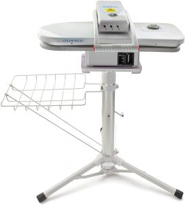 Two in One Compact Ironing Steam Press and Steam Press Stand Set - 1,350 Watt Steam Press - Adjustable Telescopic Press Stand