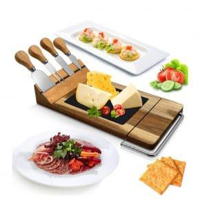 Nutrichef Bamboo Board Cutlery Set