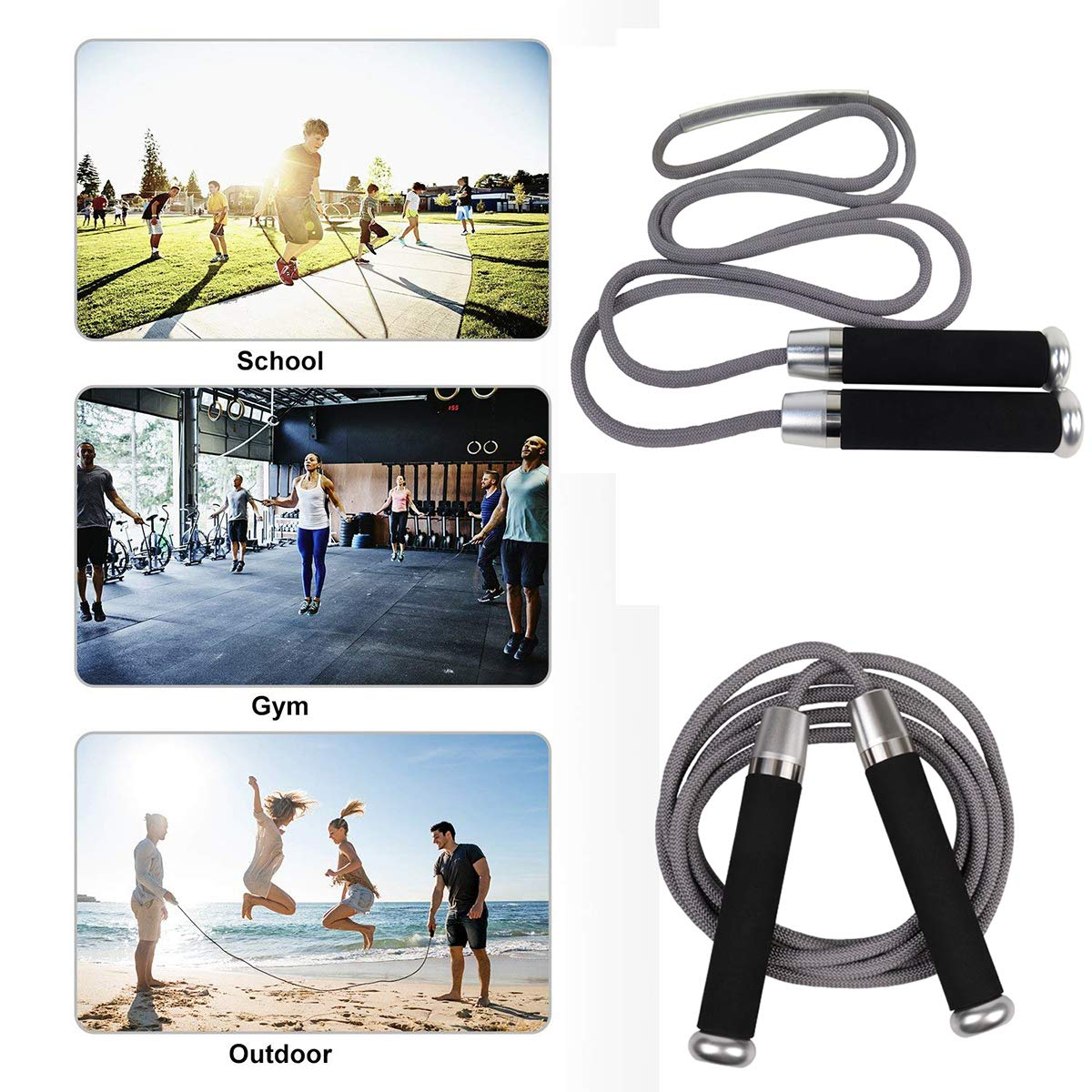 NORSENS Weighted Jump Ropes for Fitness Tangle-Free Skipping Rope with Ball Bearing Memory Foam Handles for Women Men Kids Exercise-2 Pack