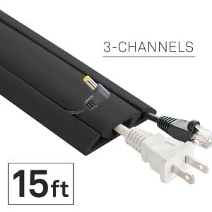 UT Wire 15-Feet Cord Protector, 3-Channels, Black