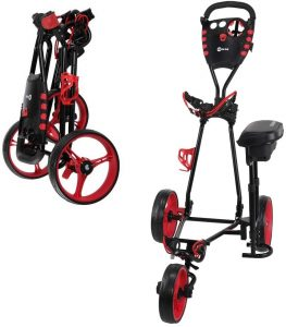 Ram Red Black Golf push Cart with Seat