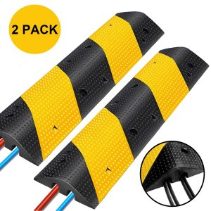 Reliancer 2PC Rubber Speed Bumps with Two Channel Driveway