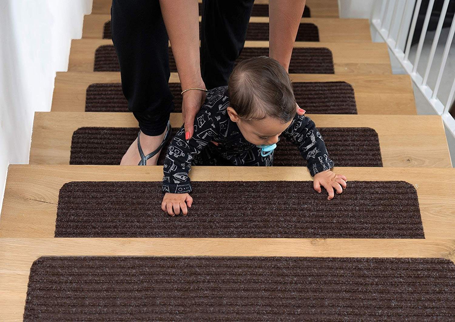Wotoban Stair Treads Carpet Non Slip Indoor Set of 14 Carpet Stair Treads 8 X 30 Stair Rugs Mats Runners Safety Slip Resistant for Kids Grey Elders and Dogs