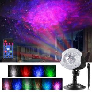 ALOVECO LED Laser 2-In-1 RGBW 10 Colors Ocean Wave Projector