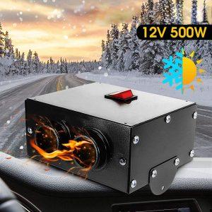 12V 500W Car Truck Fan Heater Portable Car Windscreen Demister Defroster Defogger Compact Air Heater Heating Warmer Windscreen Car Heater Defroster
