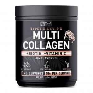Zeal Naturals Premium Multi Collagen Peptides Powder for Women Hair Skin