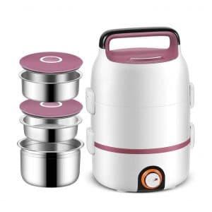 ZOUJUN 2L Mini Rice Cooker 3-Tier Lunch Box