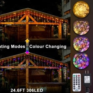 Ollny LED Icicle Lights 306 LED 24.6Ft Christmas Light Projector