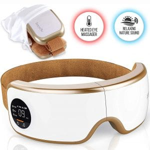 Stress Therapy Electric Eye Massager - Wireless Digital Mask Machine w Heat Compress, Built-in Battery & Adjustable Elastic Band - Air Pressure Vibration Massage Eye Relief