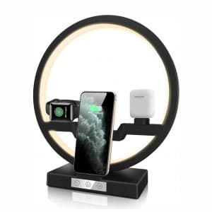 Xelsa 3 in 1 Wireless Fast Charging Station with LED Ring Light for Apple Watch Airpods Charger Dock Stand Compatible