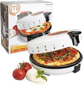 MasterChef Pizza Maker- Electric Rotating 12 Inch Non-stick Calzone Cooker - Countertop Pizza Pie and Quesadilla Oven w Adjustable Temperature Control