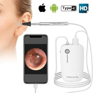 Teslong Otoscope iPhone 4.3mm Ear Inspection Camera with 6 Adjustable LED Lights