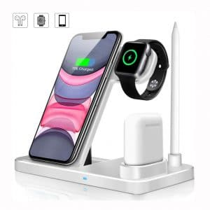 Wireless Charger, QI-EU 4 in 1 Qi-Certified 10W Fast Charging Station Compatible Apple Watch Airpods iPhone 11:11pro:X:XS:XR:Xs Max:8:8 Plus