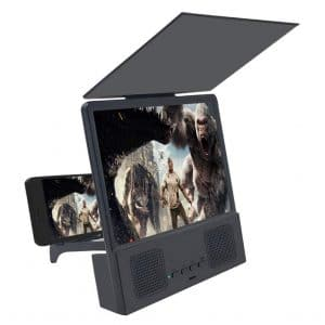 """Jushi 8"""" 3D Smart Screen Magnifier with Bluetooth Speaker and Foldable Holder Stand (Black)"""