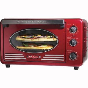 Nostalgia RTOV2RR Large-Capacity 0.7-Cu. Ft. Capacity Multi-Functioning Retro Convection Toaster Oven, Fits 12 Slices of Bread and Two 12-Inch Pizzas, Built In Timer
