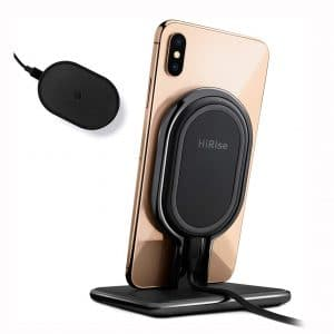 Twelve South HiRise Wireless | Fast Charging 10W Wireless Vertical Stand, Flat Desk Charger and Travel Wireless Charger