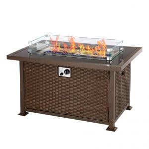 U-MAX 44 Inches Outdoor Gas Fire Pit Table 50,000 BTUs