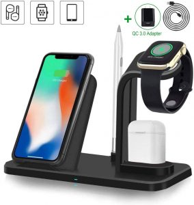 Wireless Charger, 3 in 1 Wireless Charging Station for Apple Watch and Airpods, Fast Wireless Charging Stand Compatible with iPhone 11 11 Pro Max Xs XR X 8 8 Plus(with QC 3.0 Adapter)