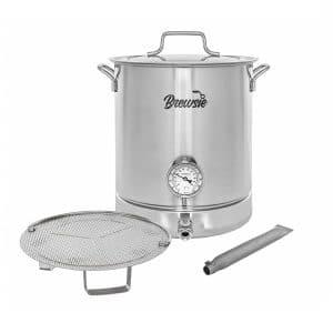 Brewsie 32 QT home brew kettle pot with dual filtration