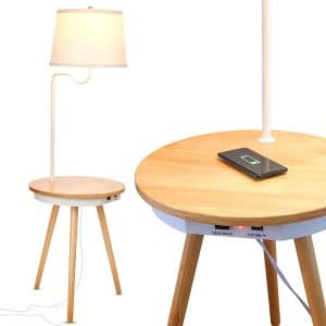 Brightech - Owen Side Table with Attached LED Lamp - Mid Century Modern End Table for Living Rooms